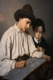 Sofie Ribbing , Boys drawing, 1864, Göteborg, Sweden