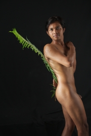 Nude Balinese guy standing with fern