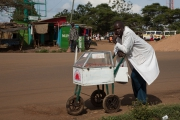 Thika market - man selling hot dogs