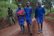 Near Thika - school boys returning home