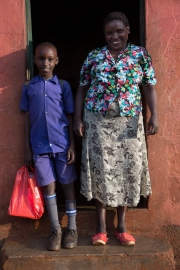 Thika - school boy with his mother
