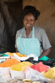 Thika market - woman proud to show new hairpiece